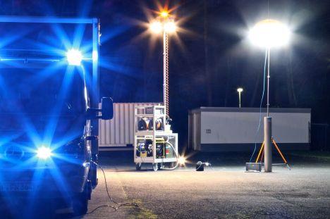 Rollwagen Licht und Strom in Aktion